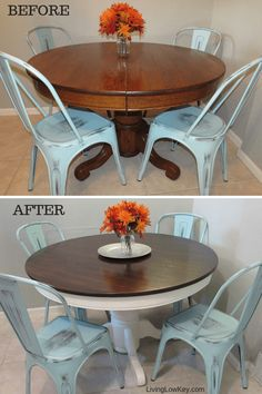 diy table Wow, Im in love with this round DIY farmhouse kitchen table makeover! If you are looking to renovate your kitchen table into a rustic Joanna Gaines style table you have to check this out! I cant wait to refinish my table. Refinishing Kitchen Tables, Dining Table Makeover, Kitchen Table Makeover, Farmhouse Kitchen Tables, Dining Room Table, Diy Kitchen, Farmhouse Decor, Round Kitchen Tables, Metal Farmhouse Chairs