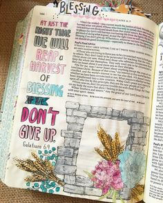 Galatians 6:7-11. One of my favorite passages in scripture. Don't give up! Keep sowing good things! //This is from the @theinspirebible that has 400 illustrations to color! Love this page! Reminds me to keep building keep planting keep sowing. God is near! #inspirebible #journalingbible #biblejournaling #illustratedfaith by biblejournaling