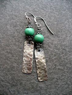 JEZABEL-handmade sterling and turquoise earrings. $52.00, via Etsy.