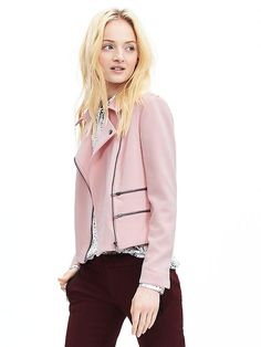 From Banana Republic for fall 2015 ladies pink is still in; Multi-Zip Moto Jacket