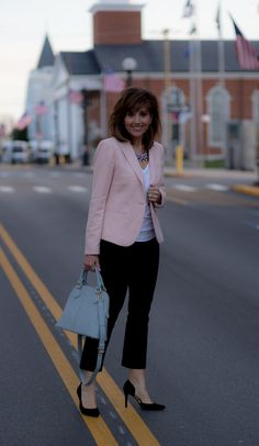 Spring Blazer and Cropped Flare Pants Outfit