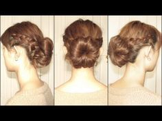 dutch braids with bun  ...I really am amazed by how she makes the bun...I don't think I can do that...I will need a sock!