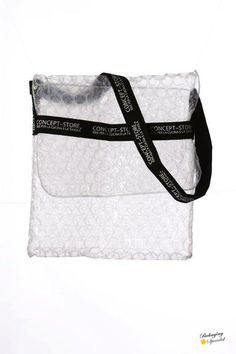 Transparent pluriball bag with printed tape hanle