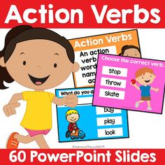 Action Verbs PowerPoint - L.K.1, L.1.1 by LearnersoftheWorld | TpT