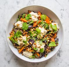 Warm Cumin Roasted Carrot, Red Onion and Lentil Salad | Deliciously Ella FYI 1 tin of lentils = 400 g. cooked lentils