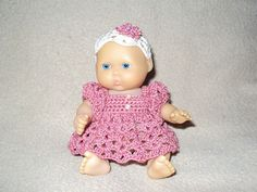 Shell Stitch Dress and Hat for 5 Inch Baby Dolls by Gay Curtis