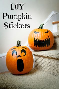 Halloween is my absolute favorite holiday! Except carving of the pumpkins. That is why I love these DIY pumpkin stickers. Diy Pumpkin, Pumpkin Carving, Pumpkin Ideas, Pumpkin Patterns, Carving Pumpkins, Quick Halloween Crafts, Halloween Ideas, Halloween Decorations, Halloween Party
