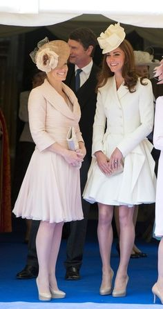 Countess of Wessex and Kate at Garter Day 2012. Kate is wearing Alexander McQueen with a hat by Jane Corbett