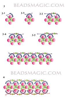 Free pattern for beautiful beaded bracelet Royal Violet.  (Part 2 of 2 page instructions).  U need:    pearl beads 5 mm    bicone beads 3-4 mm    seed beads 11/0  - See more at: http://beadsmagic.com/?p=3474#more-3474