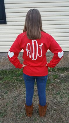 Valentine's Day Long Sleeve Monogrammed Tee Shirt by ShoppeSaShea