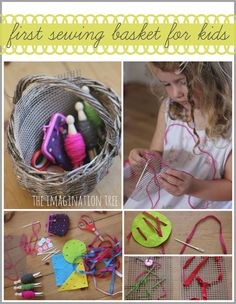 "First Sewing Basket for Children. make a first sewing basket for children using simple, age appropriate materials that encourage open-ended creativity, fine motor skills plenty of independent fun - from The Imagination Tree ("",) Kids Crafts, Diy And Crafts Sewing, Craft Activities For Kids, Projects For Kids, Sewing Projects, Play Activity, Sewing Kits, Geek Crafts, London Activities"