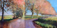 View towards Winchester Hill - Diptych Oil painting by John Welsh Vibrant Colors, Colours, Oil Painting On Canvas, Artist Painting, Landscape Art, Winchester, Impressionist, Saatchi Art, Original Paintings