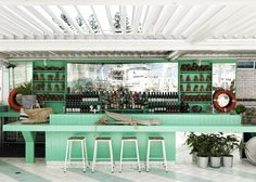 Vibrant seafoam green at the Watsons Bay Boutique Hotel in Sydney // colors