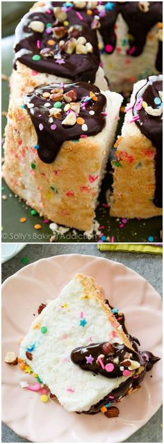 Rainbow sprinkles, crunchy hazelnuts, and smooth chocolate ganache makes this fluffy angel food cake a huge party!