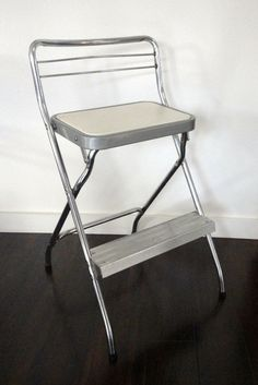 Vintage Step Stool Chair Cosco Chrome and White by KimBuilt, $39.75