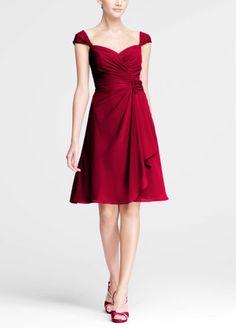 Chiffon Sweetheart Short Dress with Cap Sleeves F15406 Bridesmaid