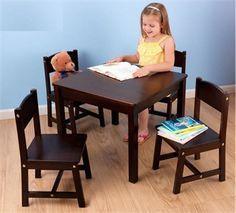 KidKraft Espresso Farmhouse Table w/ 4 Chairs