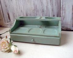 Blue Vintage Dresser Valet, Duck Egg Blue Distressed Wooden Jewelry Valet…