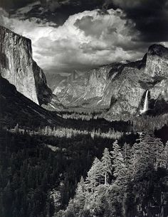 Thunderstorm, Yosemite Valley, by Ansel Adams 1945 The depth of the photo gives the feeling of grandeur, making the viewer seem like a small spec in comparison. I love Ansel Adams, such vision. Edward Weston, Ansel Adams Photography, History Of Photography, Nature Photography, Urban Photography, Color Photography, Black And White Landscape, Black N White Images, Famous Photographers