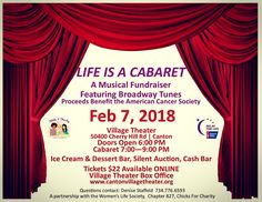 Come support a great cause, eat some sweets, buy some fun stuff you don't need, and enjoy a show tune ... or eight. You might even hear me sing a few! 😉 Feb. 7, Canton's Village Theatre. Benefiting #AmericanCancerSociety #RelayForLife. Event page: https://www.facebook.com/events/134296253945029/ #newsies #siezetheday #goldenboy #thisisthelife #chorusline #one #rent #seasonsoflove #pippin #cornerofthesky #broadway #showtunes #cancersucks #theatre #canton #michigan #detroit