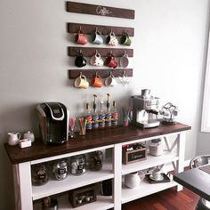 DIY Coffee Bar from plan http://ana-white.com/2012/05/plans/rustic-x-console