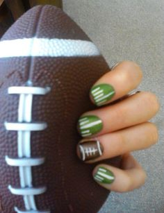 Great for the Super Bowl, or football season in general - Football Nail Design