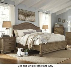 Trishley California King Bedroom Set with Panel Bed and Nightstand in Light Brown