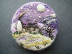 Hand Made Needle Felted Brooch/Gift ' One Snowy Night ' by Tracey Dunn
