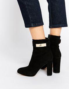 Image 1 ofRiver Island Black Lock Heeled Boots