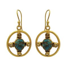 925 Sterling Silver 22kt Yellow Gold Plated copper  turquoise Gemstone Earring #ViditaJewels #DropDangle