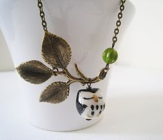 Black Owl Necklace. black owl on leafy branch in by lunashineshine