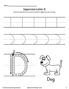 *FREE* Uppercase Letter D Pre-Writing Practice Worksheet Worksheet.Practice handwriting skills while learning the shape of the letter -D- with this alphabet pre-writing worksheet. Letter Worksheets For Preschool, Alphabet Tracing Worksheets, Preschool Writing, Handwriting Worksheets, Preschool Letters, Handwriting Practice, Kindergarten Worksheets, Alphabet Writing Practice, Writing Practice Worksheets
