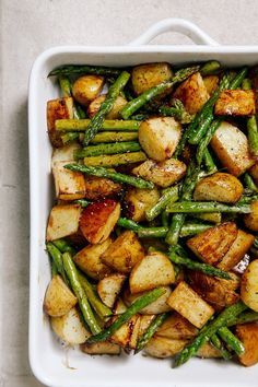 Balsamic Roasted New Potatoes with Asparagus serve with salmon