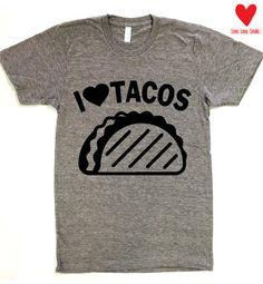 I LOVE Tacos American Apparel Track Tee Womens & by WearMeGear
