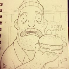 Teddy, from the show Bob's Burgers, sketchpad doodle (first posted @Bo Kaier instagram)