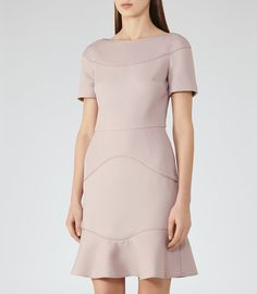 REISS - HAZEL TEXTURED FIT AND FLARE DRESS
