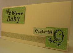 Handmade new baby card, craft, green, aqua, bird