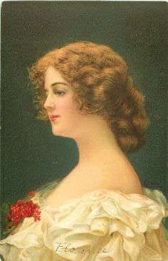 "Beautiful woman from the postcard set titled, ""Fair Maidenhood.""  Wearing white ruffled dress, with red flower corsage."
