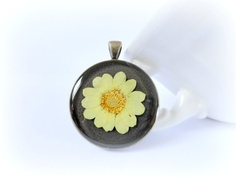 Yellow daisy   flower resin necklace real preserved by GBILOBA, €28.75