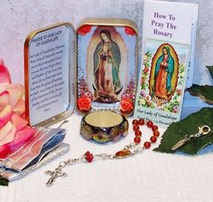 Our lady of Guadalupe Pocket Shrine w/ One-Decade Garnet Rosary, Candle and Prayer Instructions by foodforthesoul on Etsy