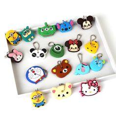 Anime Silicone Key Cap Cat Minion Key Chain Women Bag Charm Key Holder Mickey Key Ring Owl Keychain Hello Kitty Stitch Key Cover -  http://mixre.com/anime-silicone-key-cap-cat-minion-key-chain-women-bag-charm-key-holder-mickey-key-ring-owl-keychain-hello-kitty-stitch-key-cover/  #KeyChains