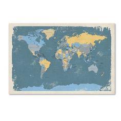 Trademark Fine Art Retro Political Map of the World Canvas Art by Michael Tompsett, Size: 16 x 24, Blue