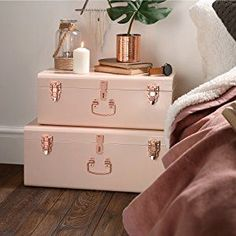Beautify Blush Pink Vintage-Style Steel Storage Trunk set with Rose Gold Handles – Dorm & Bedroom Footlocker – Top Trend – Decor – Life Style Pink Bedroom Decor, Bedroom Vintage, Bedroom Stuff, Design Bedroom, Bed Design, Blush And Gold Bedroom, Room Decor Bedroom Rose Gold, Copper Bedroom, Shabby Bedroom