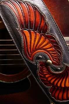 "Guitar Strap, brown leather guitar strap ""Arch Angel Guitar Strap"". $225.00, via Etsy."