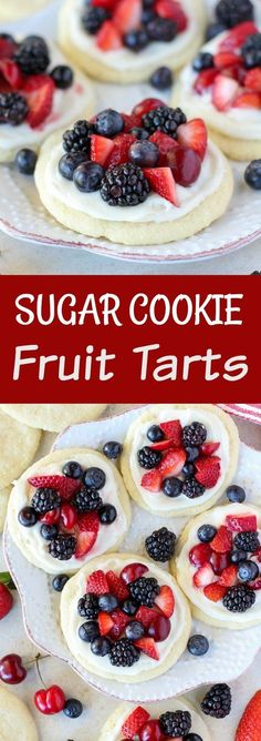 Sugar Cookie Fruit Tarts - Mini fruit tarts made with sugar cookies topped with cream cheese frosting and fresh fruit. Use your favorite fruit for this easy dessert. by corine Easy Tart Recipes, Fruit Recipes, Cookie Recipes, Dessert Recipes, Blueberry Recipes, Sweet Recipes, Recipies, Fresh Fruit Desserts, Mini Desserts