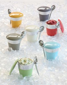 Serving ice cream has gotten fun thanks to these silver alloy and porcelain enamel containers.  And they are available in many colors...