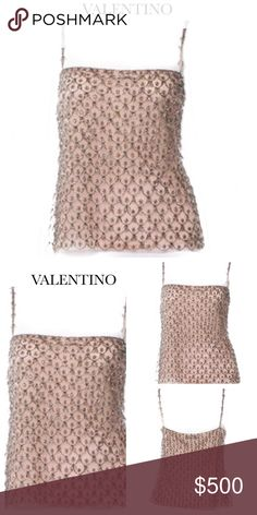 """VALENTINO NUDE BLUSH MESH EMBELLISHED TOP Valentino sleeveless mesh top with grey bead embellishments throughout, thin straps and concealed side zip closure. Color: Nude, Blush. Material: 100% Nylon. SizeM US 8 Approx Measurements: Bust 32-34"""", Waist 30"""", Length 22"""". Condition: Excellent. Sold Out. Valentino Tops"""