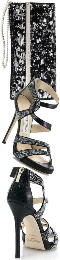 Jimmy Choo ~ Swarovski Crystal Pebbled Leather Sandals + Milla Sequinned Black Shoulder Clutch