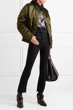 Acne Studios | Leia ruched satin bomber jacket | NET-A-PORTER.COM