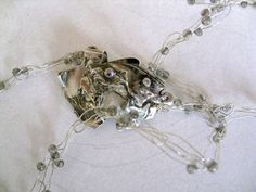 Gray Chrysocolla stones bubble silver necklace  by madebymirjam